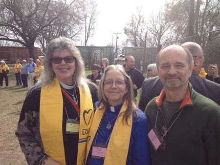 Rev. Amy Carol Webb, Rev. Jan Taddeo, and Russ Taddeo at the pre-march rally in Selma