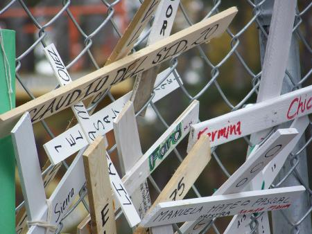 Crosses on the gates of Ft. Benning
