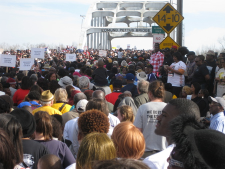 Crossing the Edmund Pettus Bridge in Selma  March 2015